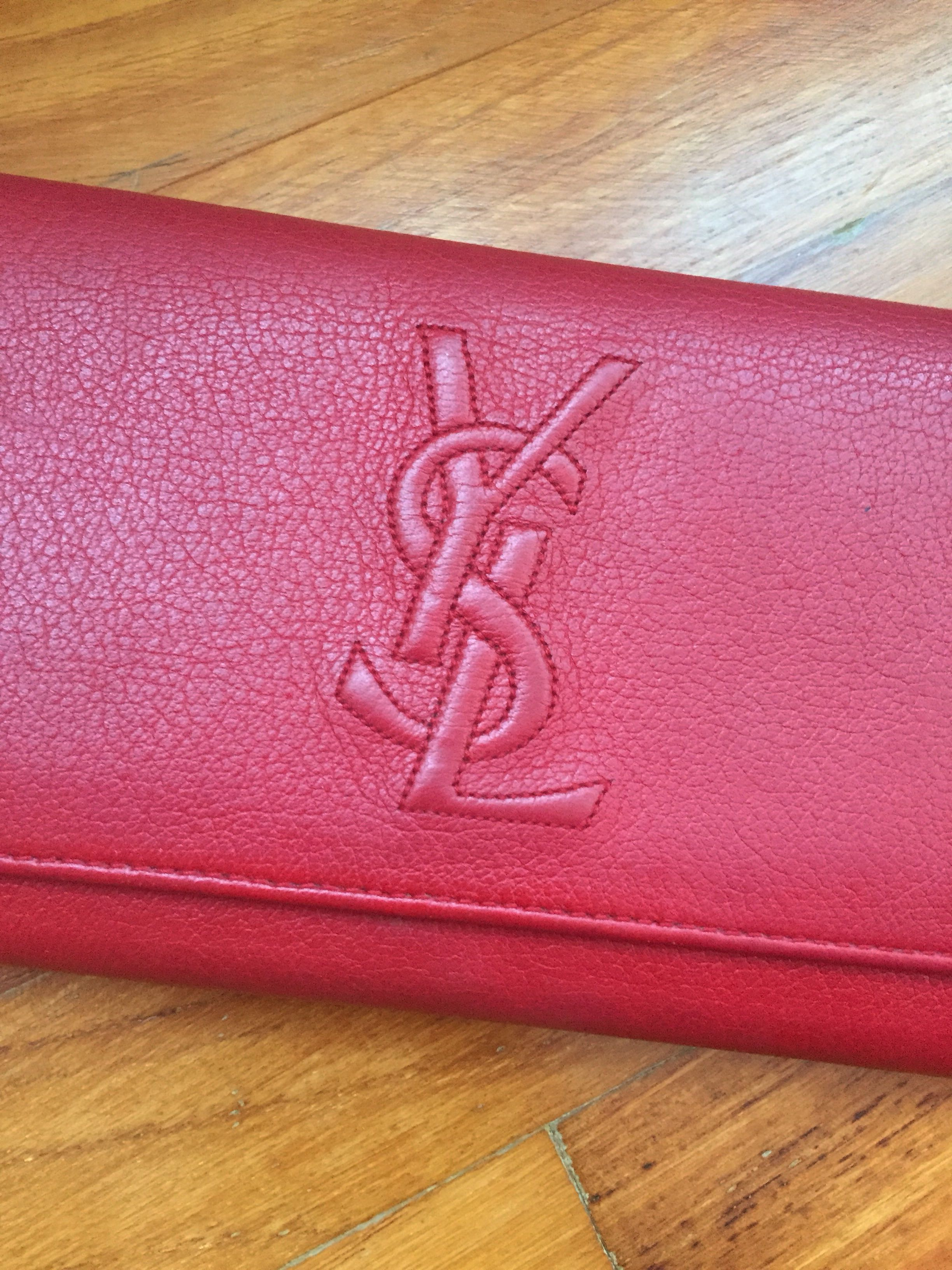 41b45ef8348 YSL SAINT LAURENT - Red Calf Skin Long Wallet Authentic, Luxury, Bags &  Wallets, Wallets on Carousell