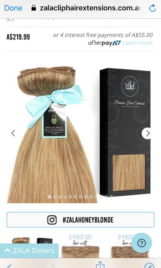 "ZALA HAIR EXTENSIONS 24""inch honey blonde shade clip ins"