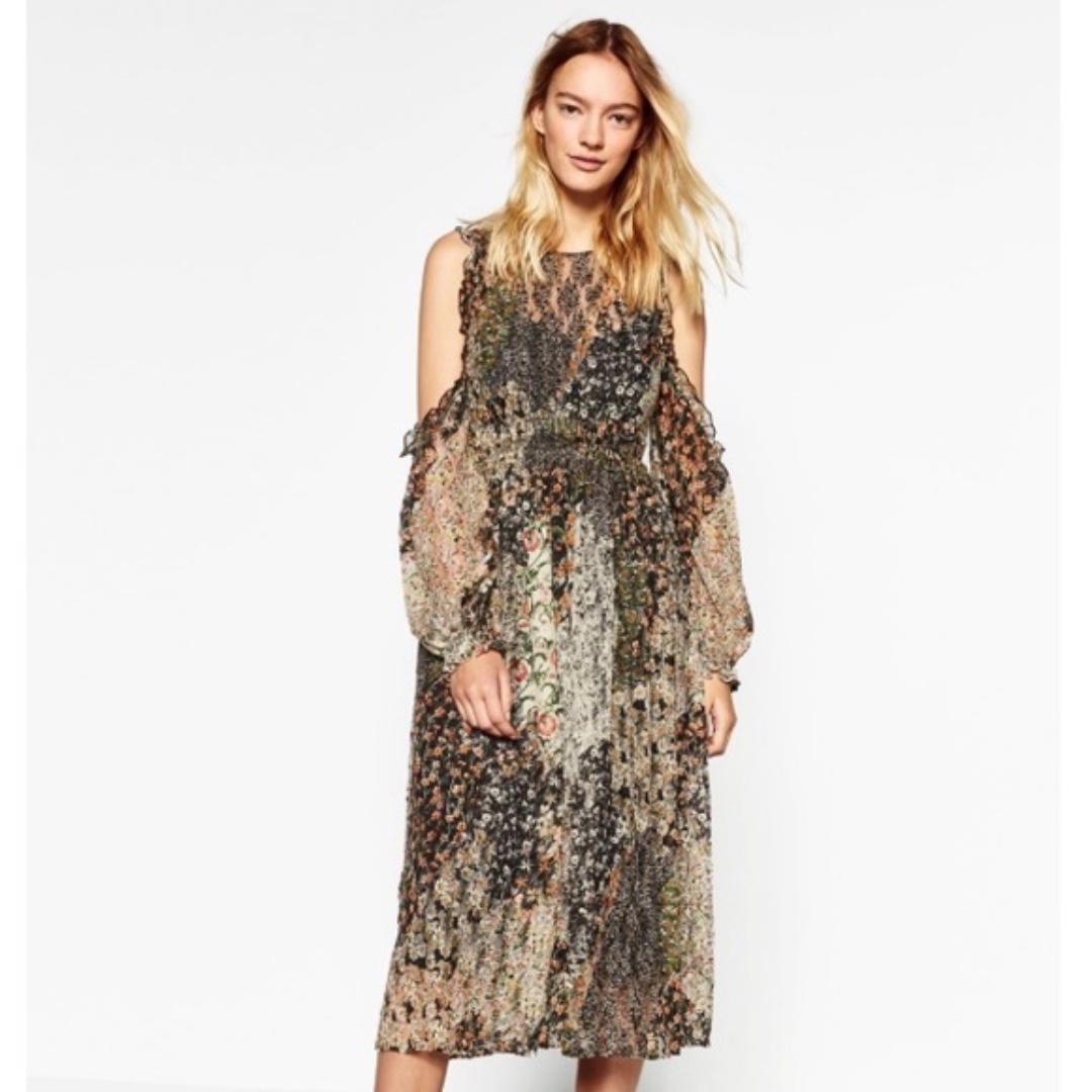Zara cold shoulder floral midi dress
