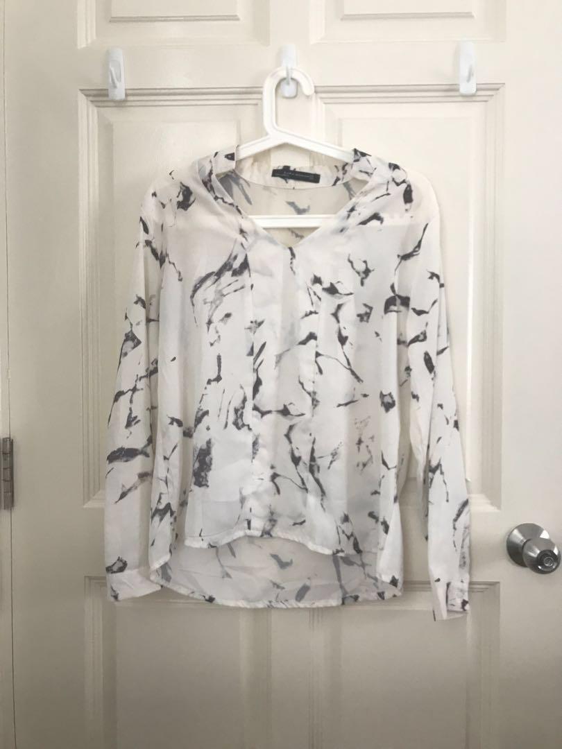 b8719754e3 ZARA marble Long sleeve blouse top