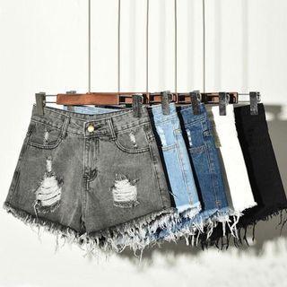 [PO] high waisted ripped hole fraying edges denim shorts