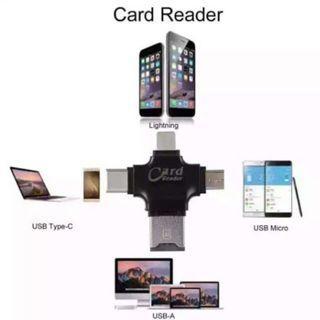 🚚 4 in 1 Micro SD Card Lightning Type C OTG Card Reader