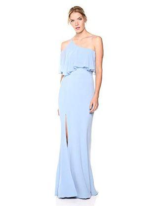 Dress The Population One Shoulder Ruffle Gown.