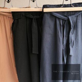 Linen Cotton pants with belt