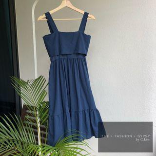 Tie back linen cotton midi dress