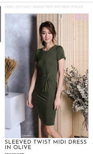 BN Topazette midi twist dress olive green