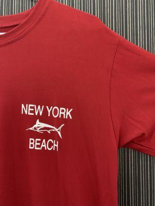 《四色》紅色Newyork字母印花短袖寬鬆上衣