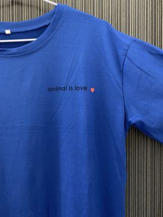 《四色》藍色字母印花短袖寬鬆上衣