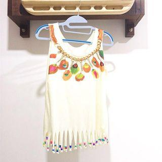 BEADED FRINGED TOP