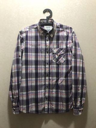 Esprit 格紋長袖襯衫 (Size : M)