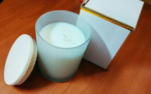 香氛蠟燭 原木蓋子+玻璃瓶身 (空瓶可收納飾品小物)