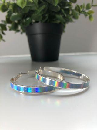 Holographic hoop earrings