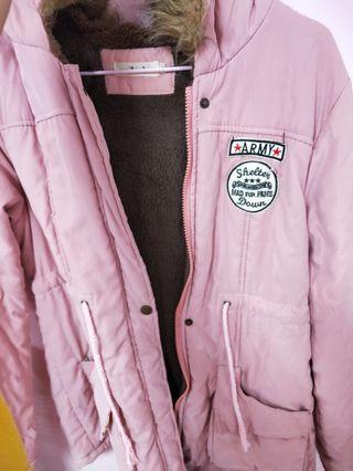 粉色刷毛厚外套