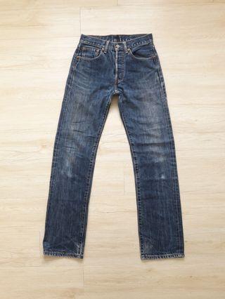 Levis 501 leather tag stonewash denim jeans
