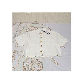[INSTOCK] COTTON ON WHITE CROP BUTTON DOWN TOP