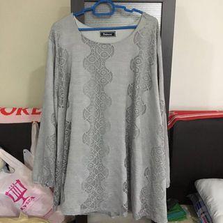 Plus Size Grey Peniwern Lace Top