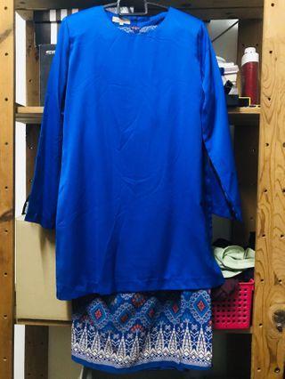 New Baju Kurung Moden Royal Blue Jakel SiZe M