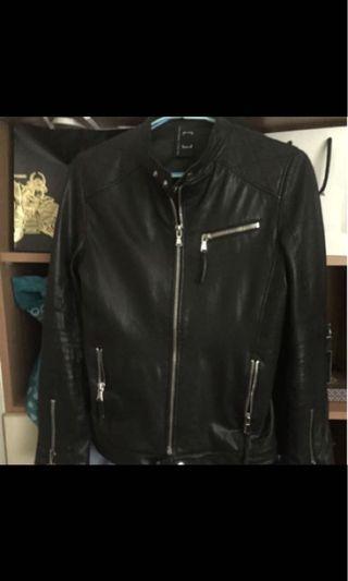 全網最帥 皮衣 重磅拉鍊 修身設計 時尚大牌設計感 s號偏小 只適合 瘦哥 真皮 羊皮