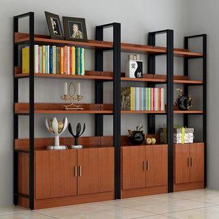 鋼木精品書架展示架可加柜筒