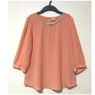 Embedded Pearl Necklace Chiffon Blouse. Size M. Well kept in packaging.