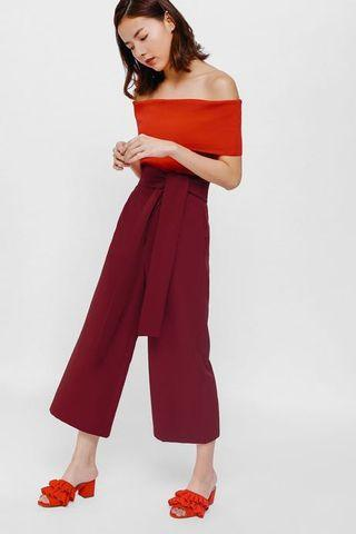 Love Bonito Canya Sash Culottes, wine red, s