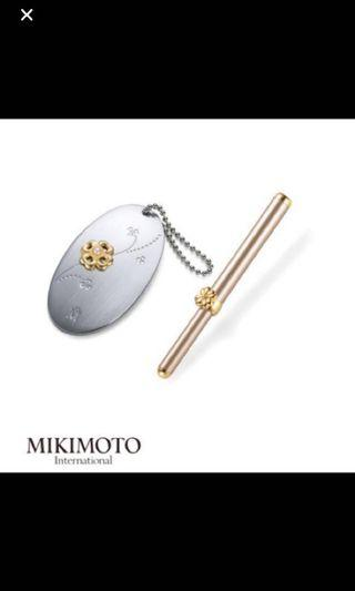 BN Mikimoto NEW Pearl Silver Gold Clover mirror and lip brush set