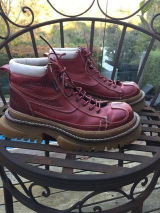 Red vintage genuine leather chunky platform boots