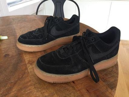 Black suede Air Force 1 with gum sole