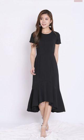 Topazette BRISA MERMAID RUFFLES DRESS IN Black