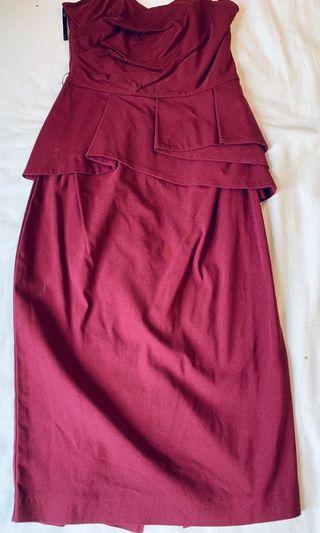 ASOS maroon bandeau knee length dress
