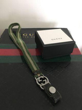 Gucci古著感鑰匙掛繩綠白條紋經典色便宜賣1000