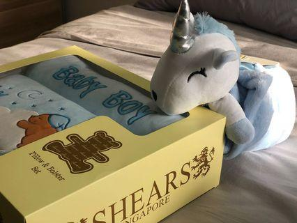 Baby Boy Pillow Bolster and Unicorn Security Blanket Gift Set