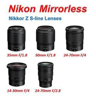 Nikon Z Lenses 35 50 24-70 14-30 F1.8s F4s 1.8s 4s