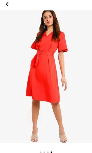 Flare sleeves fit and flare dress