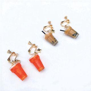 1 PAIR Cute Food Drink Bubble Tea and Ice Lemon Tea Earrings / Clip Ons (PO)