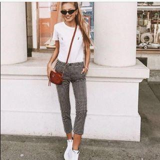 🚚 Checkered Monochrome Gingham Skinny Pants