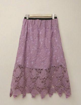 Romantic purple lace fishtail skirt
