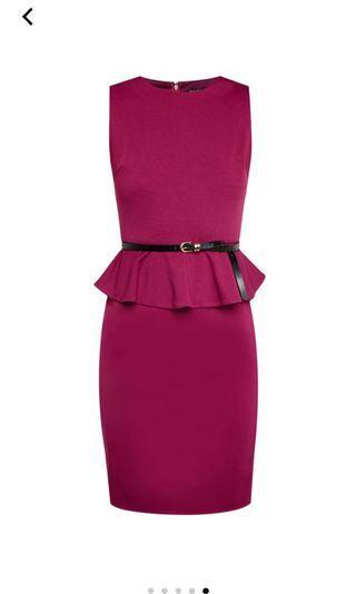 ZALORA purple peplum fitted dress