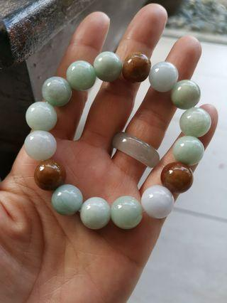 New Jadeite Jade Trio Colour Beads Bracelet 13.5mm