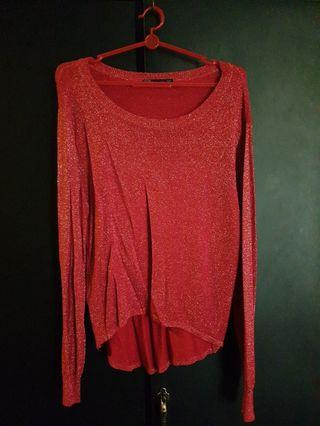 Zara Red Glitter Hi-Lo Top