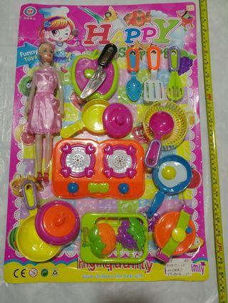 [Clearance/ Sales] Baby/ Kids/ Children Toys/ Birthday Gift/ Present -Cooking/ Kitchen Play Set - Doll/ Cutting Board/ Knife/ Stove/ Orange/ Grapes/ Egg/ Frying Pan/ Pot/ Basket etc *Super Big Size*