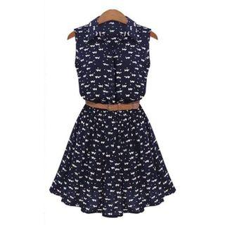 Navy Cat Collar Skater Dress
