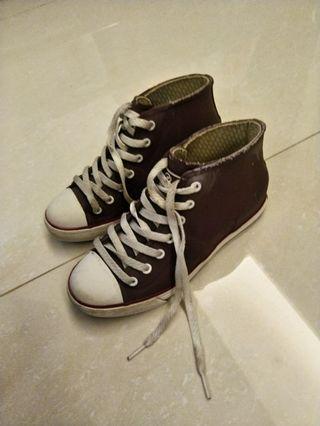 GOA 內增高帆布款橡膠雨鞋/雨鞋/紫
