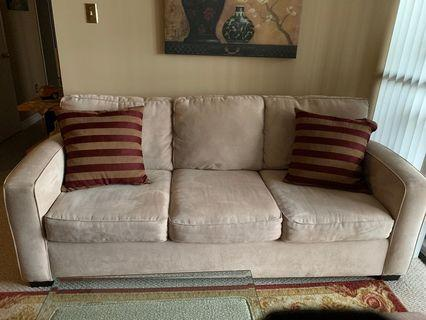 Beige Couch and Loveseat Set