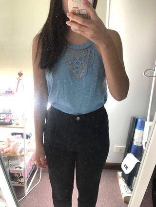 Blue Lace Top | Size XS