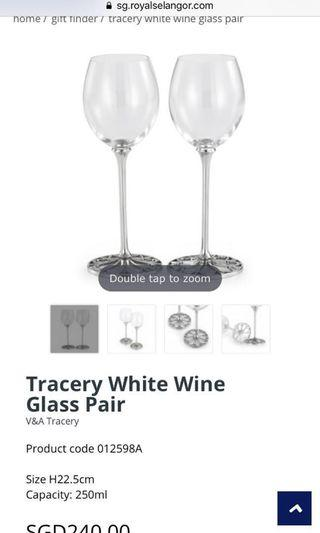 FURTHER REDUCED PRICE BRAND NEW ROYAL SELANGOR TRACERY WHITE WINE GLASS PAIR