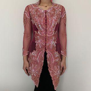 Fully Beaded Lace Kebaya Top (pink)