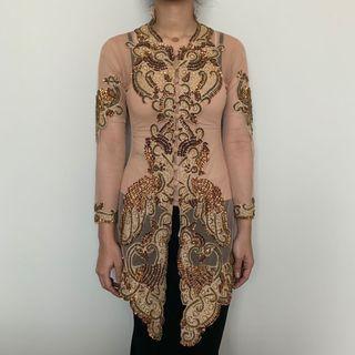 Fully Beaded Lace Kebaya Top (nude)