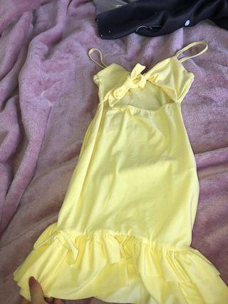 Pretty little thing yellow tie dress size 10