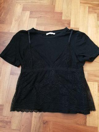 Zara top with lace bralette #AmplifyJuly35
